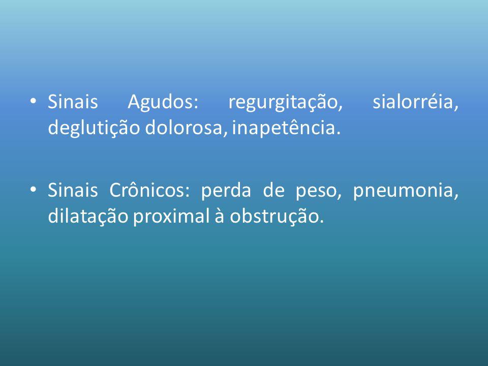 Sinais Agudos: regurgitação, sialorréia, deglutição dolorosa, inapetência. Sinais Crônicos: perda de peso, pneumonia, dilatação proximal à obstrução.