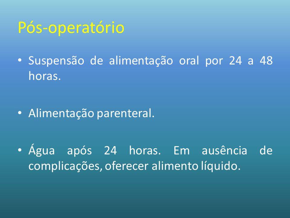 Pós-operatório Suspensão de alimentação oral por 24 a 48 horas. Alimentação parenteral. Água após 24 horas. Em ausência de complicações, oferecer alim