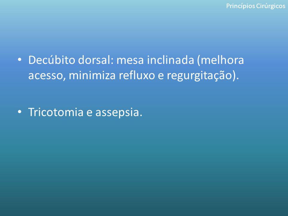 Decúbito dorsal: mesa inclinada (melhora acesso, minimiza refluxo e regurgitação). Tricotomia e assepsia. Princípios Cirúrgicos