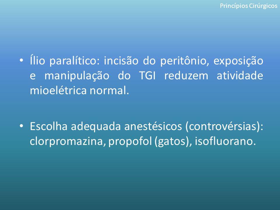 Ílio paralítico: incisão do peritônio, exposição e manipulação do TGI reduzem atividade mioelétrica normal. Escolha adequada anestésicos (controvérsia