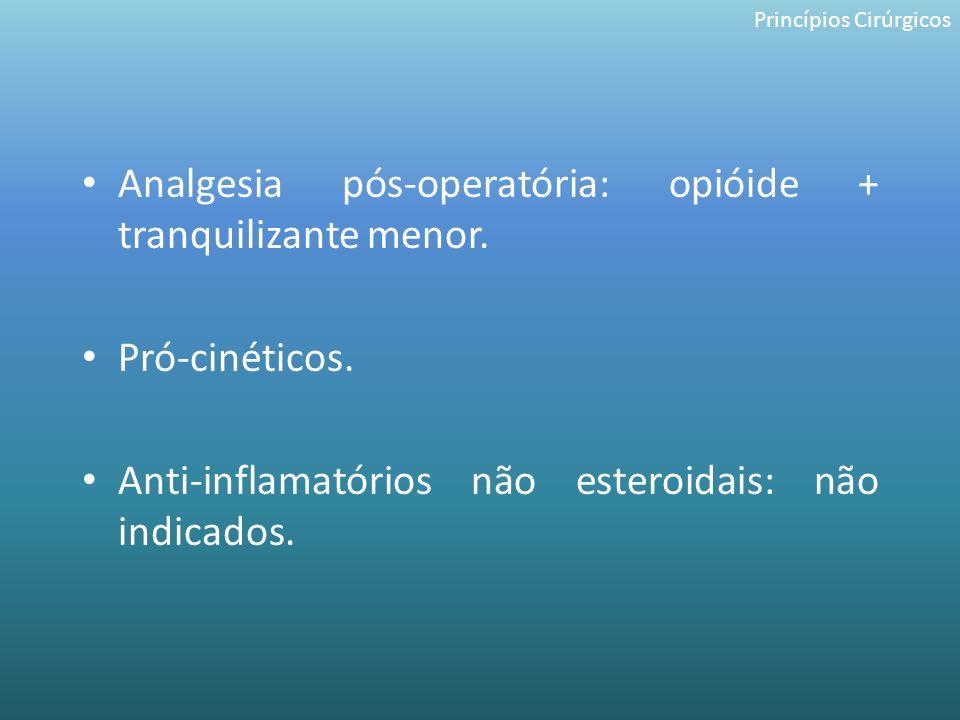 Analgesia pós-operatória: opióide + tranquilizante menor. Pró-cinéticos. Anti-inflamatórios não esteroidais: não indicados. Princípios Cirúrgicos