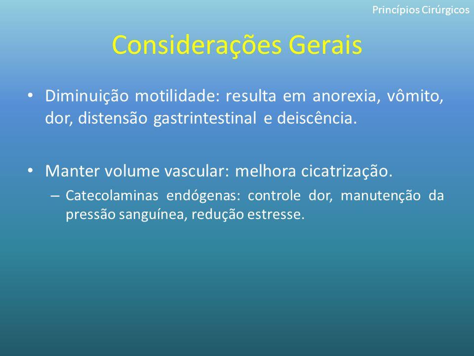 Considerações Gerais Diminuição motilidade: resulta em anorexia, vômito, dor, distensão gastrintestinal e deiscência. Manter volume vascular: melhora