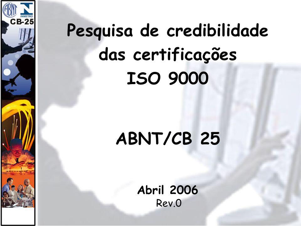 1 Pesquisa de credibilidade das certificações ISO 9000 ABNT/CB 25 Abril 2006 Rev.0