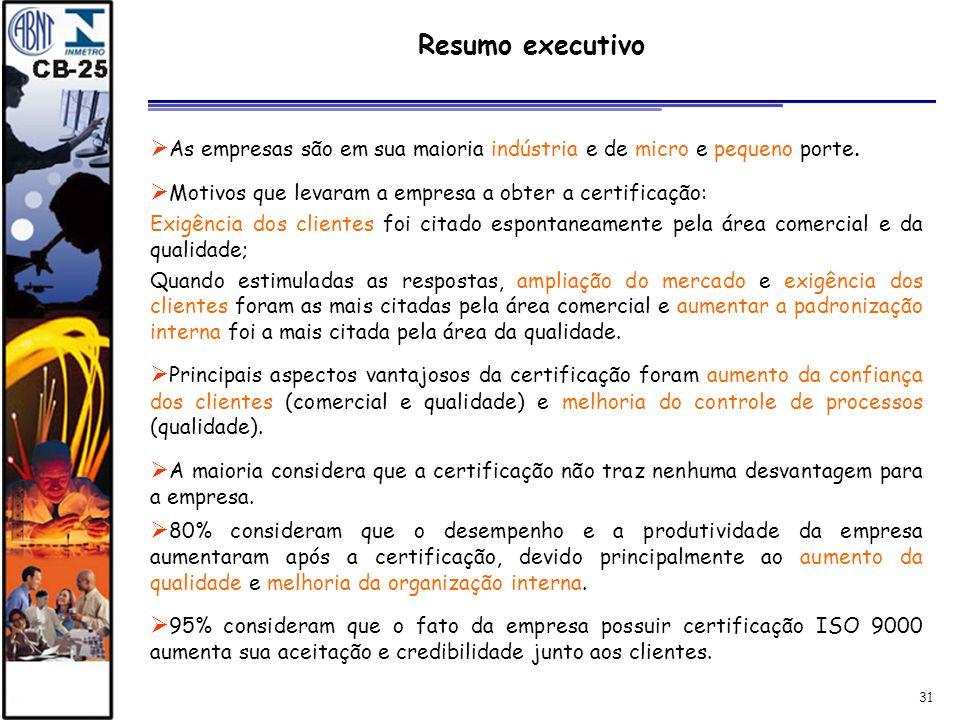 31 Resumo executivo As empresas são em sua maioria indústria e de micro e pequeno porte. Motivos que levaram a empresa a obter a certificação: Exigênc