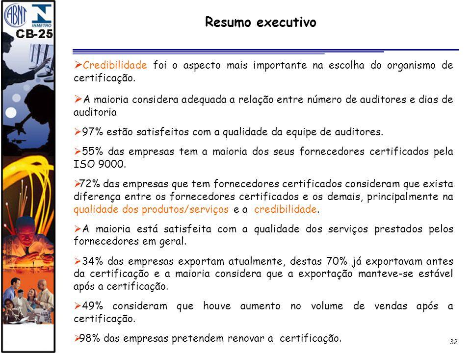 32 Resumo executivo Credibilidade foi o aspecto mais importante na escolha do organismo de certificação. A maioria considera adequada a relação entre