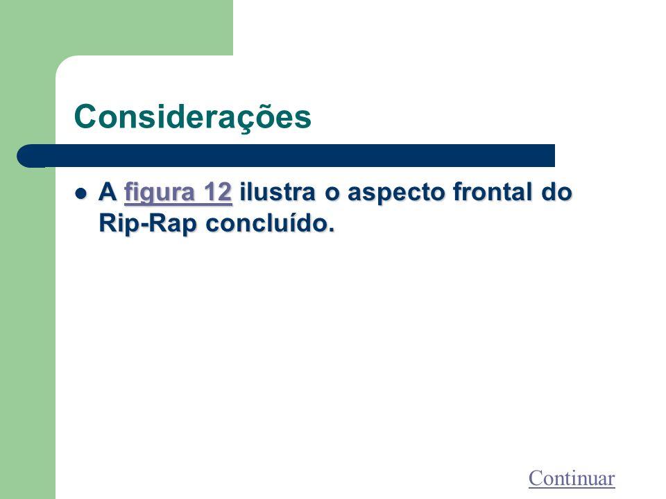 Considerações A figura 12 ilustra o aspecto frontal do Rip-Rap concluído. A figura 12 ilustra o aspecto frontal do Rip-Rap concluído.figura 12figura 1