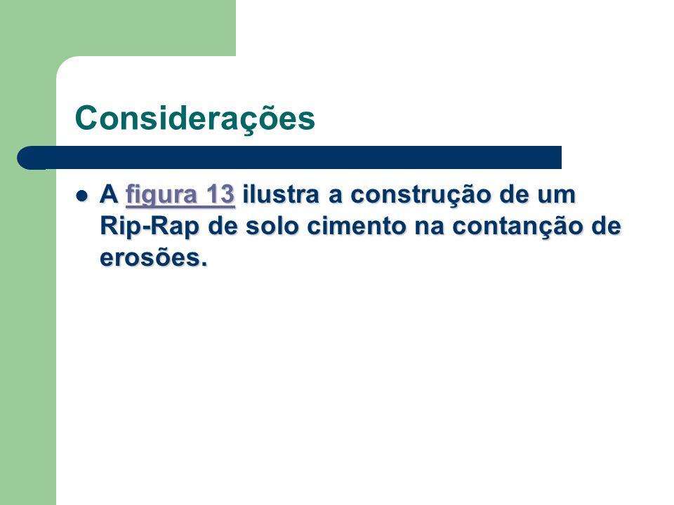 Considerações A figura 13 ilustra a construção de um Rip-Rap de solo cimento na contanção de erosões. A figura 13 ilustra a construção de um Rip-Rap d