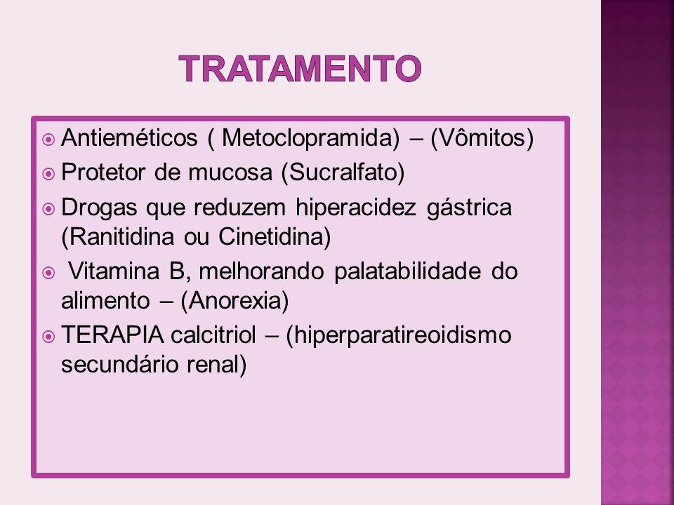 Antieméticos ( Metoclopramida) – (Vômitos) Protetor de mucosa (Sucralfato) Drogas que reduzem hiperacidez gástrica (Ranitidina ou Cinetidina) Vitamina