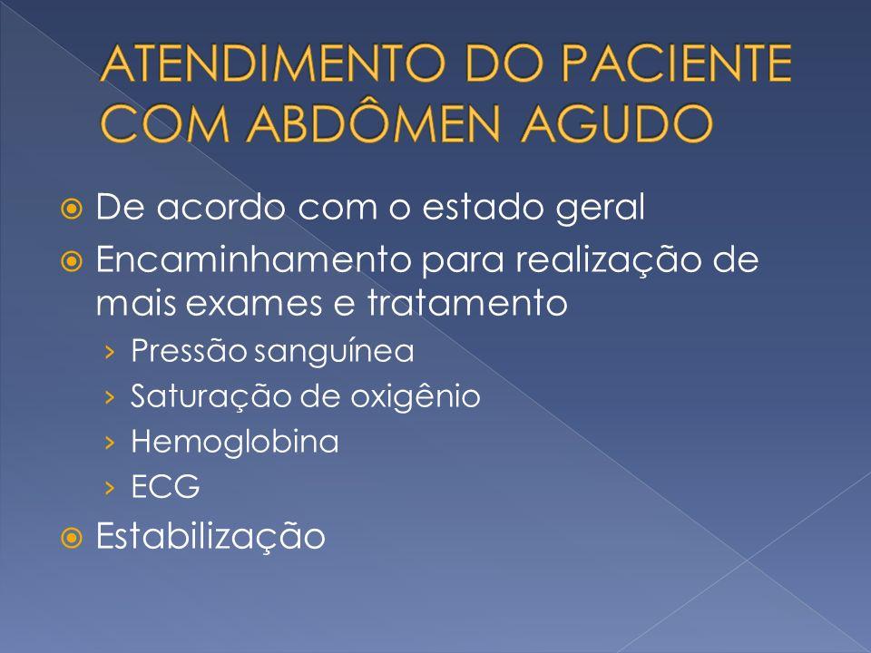 De acordo com o estado geral Encaminhamento para realização de mais exames e tratamento Pressão sanguínea Saturação de oxigênio Hemoglobina ECG Estabi
