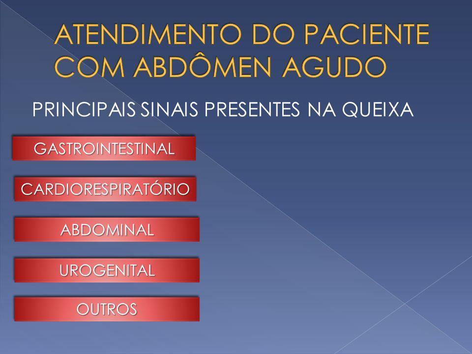 PRINCIPAIS SINAIS PRESENTES NA QUEIXA GASTROINTESTINALGASTROINTESTINAL CARDIORESPIRATÓRIOCARDIORESPIRATÓRIO ABDOMINALABDOMINAL UROGENITALUROGENITAL OU