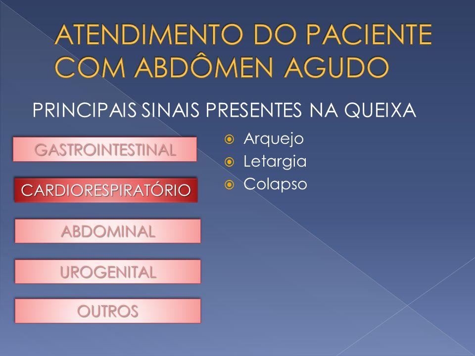 PRINCIPAIS SINAIS PRESENTES NA QUEIXA GASTROINTESTINALGASTROINTESTINAL ABDOMINALABDOMINAL UROGENITALUROGENITAL OUTROSOUTROS Arquejo Letargia Colapso C