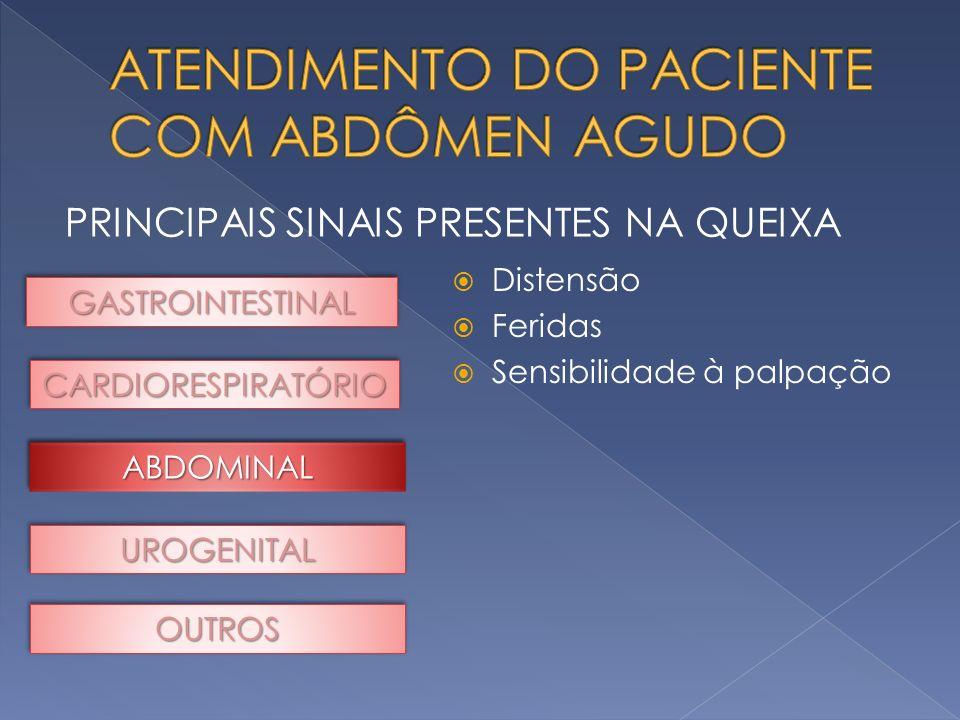PRINCIPAIS SINAIS PRESENTES NA QUEIXA GASTROINTESTINALGASTROINTESTINAL CARDIORESPIRATÓRIOCARDIORESPIRATÓRIO UROGENITALUROGENITAL OUTROSOUTROS Distensã