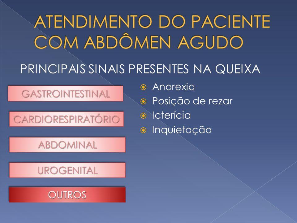 PRINCIPAIS SINAIS PRESENTES NA QUEIXA GASTROINTESTINALGASTROINTESTINAL CARDIORESPIRATÓRIOCARDIORESPIRATÓRIO ABDOMINALABDOMINAL UROGENITALUROGENITAL An