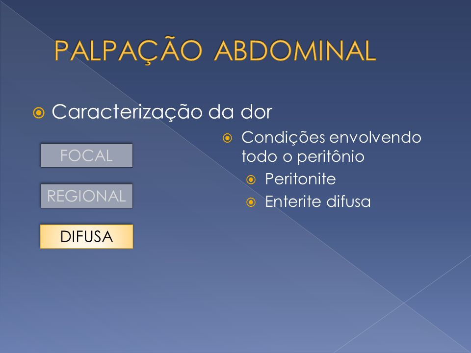 Caracterização da dor FOCAL REGIONAL DIFUSA Condições envolvendo todo o peritônio Peritonite Enterite difusa