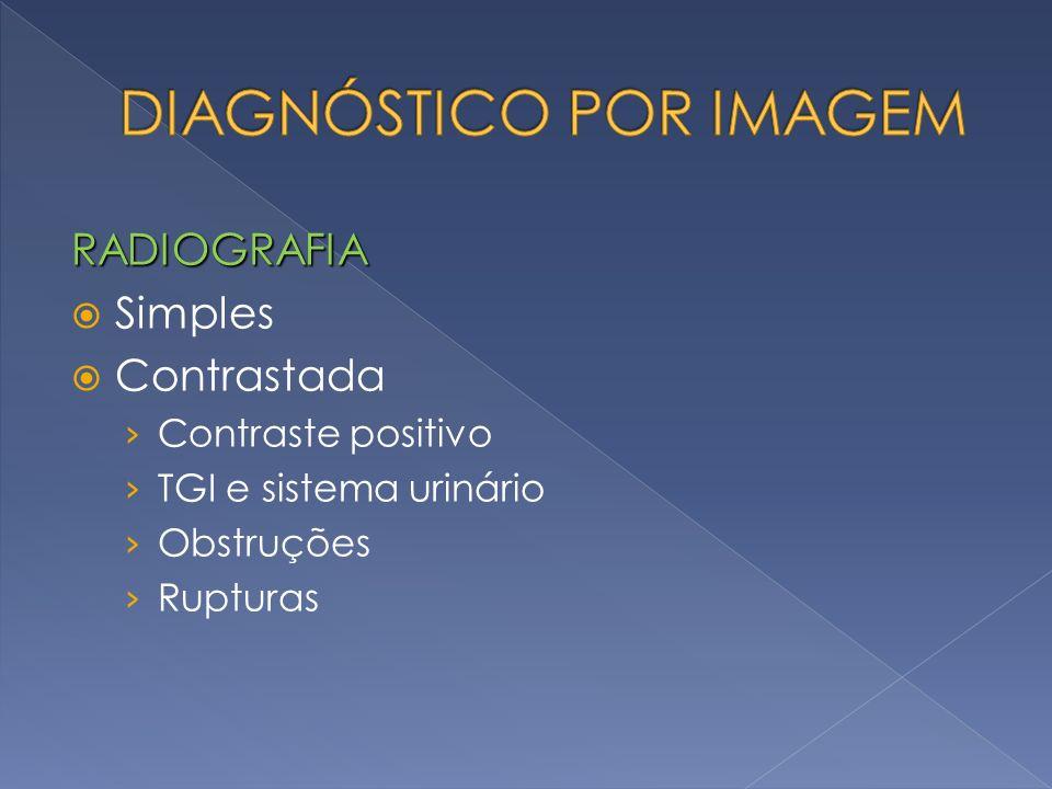 RADIOGRAFIA Simples Contrastada Contraste positivo TGI e sistema urinário Obstruções Rupturas