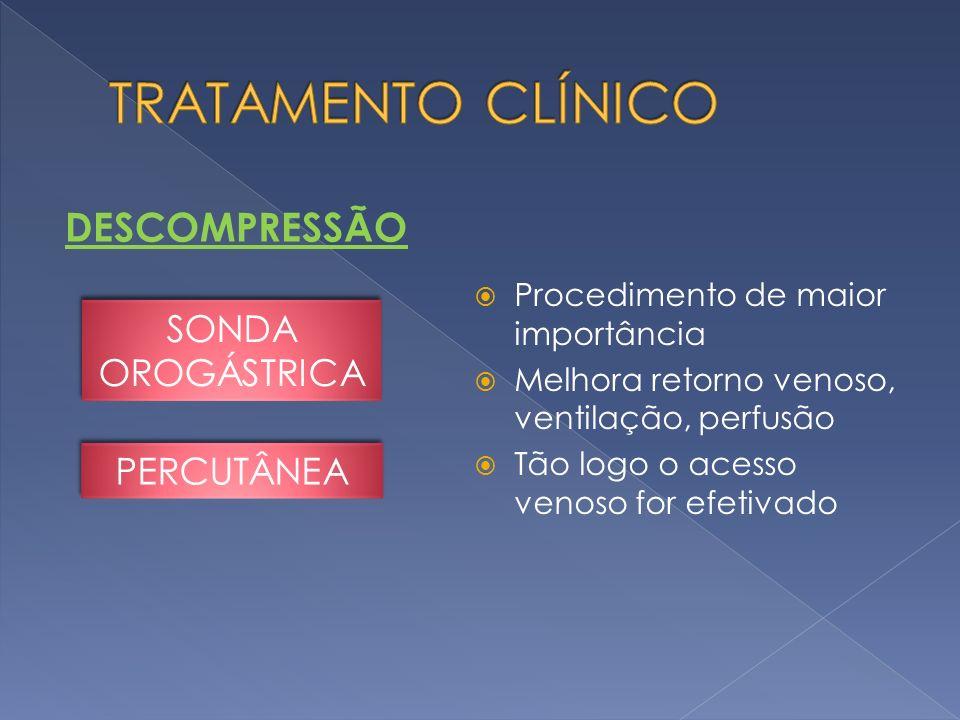 DESCOMPRESSÃO Procedimento de maior importância Melhora retorno venoso, ventilação, perfusão Tão logo o acesso venoso for efetivado SONDA OROGÁSTRICA