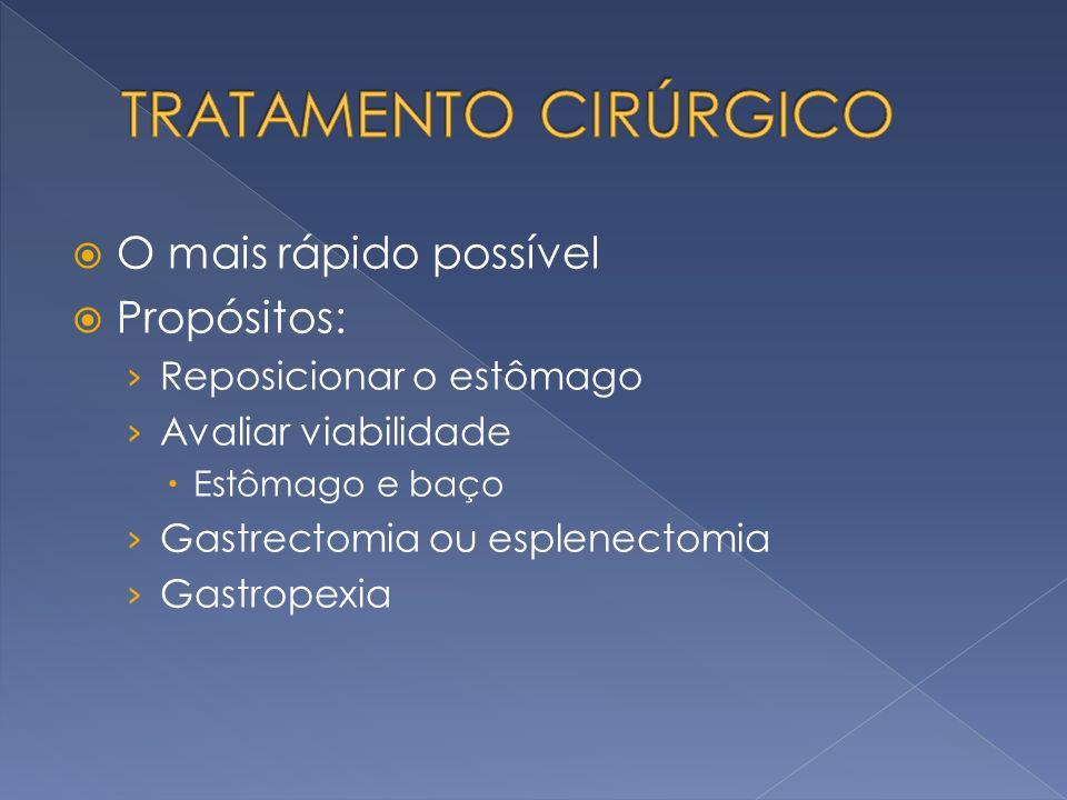 O mais rápido possível Propósitos: Reposicionar o estômago Avaliar viabilidade Estômago e baço Gastrectomia ou esplenectomia Gastropexia
