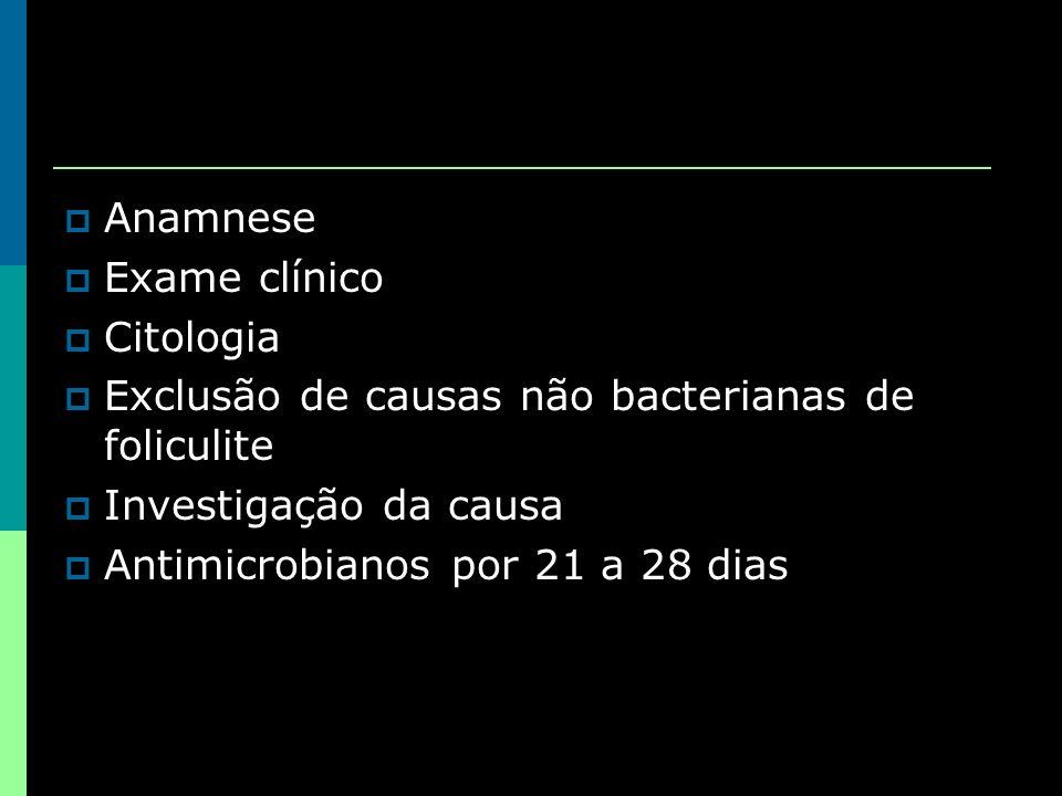 Anamnese Exame clínico Citologia Exclusão de causas não bacterianas de foliculite Investigação da causa Antimicrobianos por 21 a 28 dias