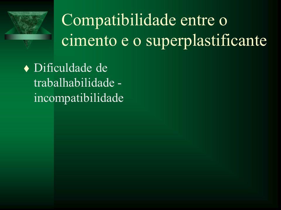 Compatibilidade entre o cimento e o superplastificante t Dificuldade de trabalhabilidade - incompatibilidade