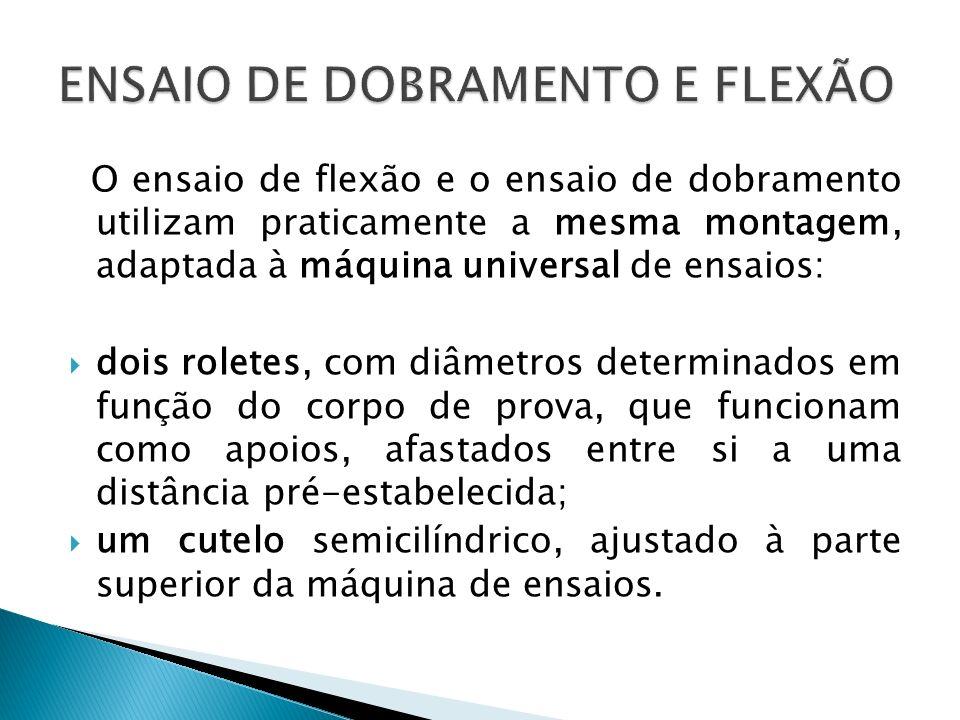 O ensaio de flexão e o ensaio de dobramento utilizam praticamente a mesma montagem, adaptada à máquina universal de ensaios: dois roletes, com diâmetr