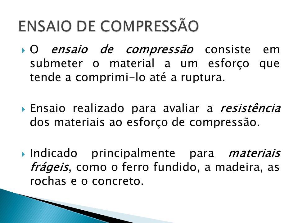 O ensaio de compressão consiste em submeter o material a um esforço que tende a comprimi-lo até a ruptura. Ensaio realizado para avaliar a resistência