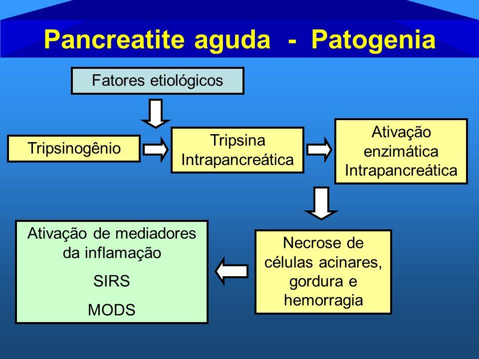 Fatores etiológicos Tripsinogênio Tripsina Intrapancreática Necrose de células acinares, gordura e hemorragia Ativação de mediadores da inflamação SIR