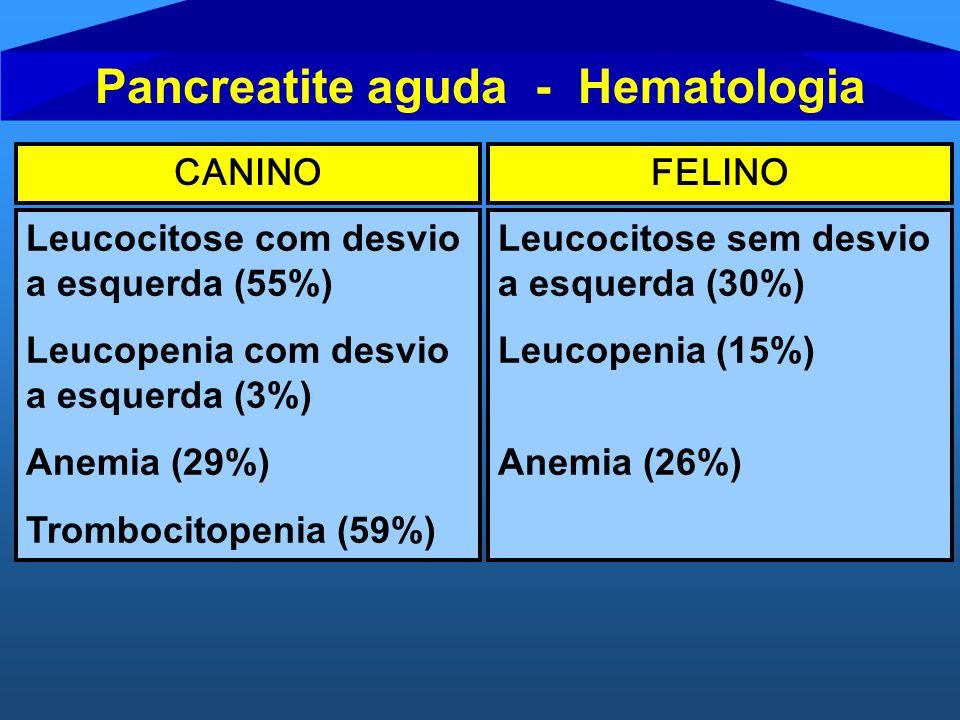 CANINOFELINO Leucocitose com desvio a esquerda (55%) Leucopenia com desvio a esquerda (3%) Anemia (29%) Trombocitopenia (59%) Leucocitose sem desvio a