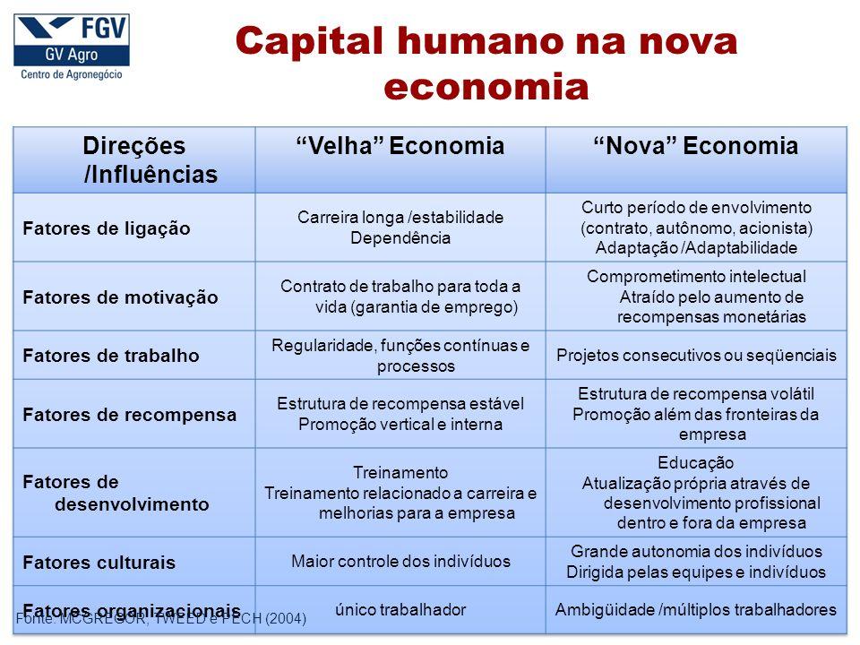 Fonte: MCGREGOR, TWEED e PECH (2004) Capital humano na nova economia