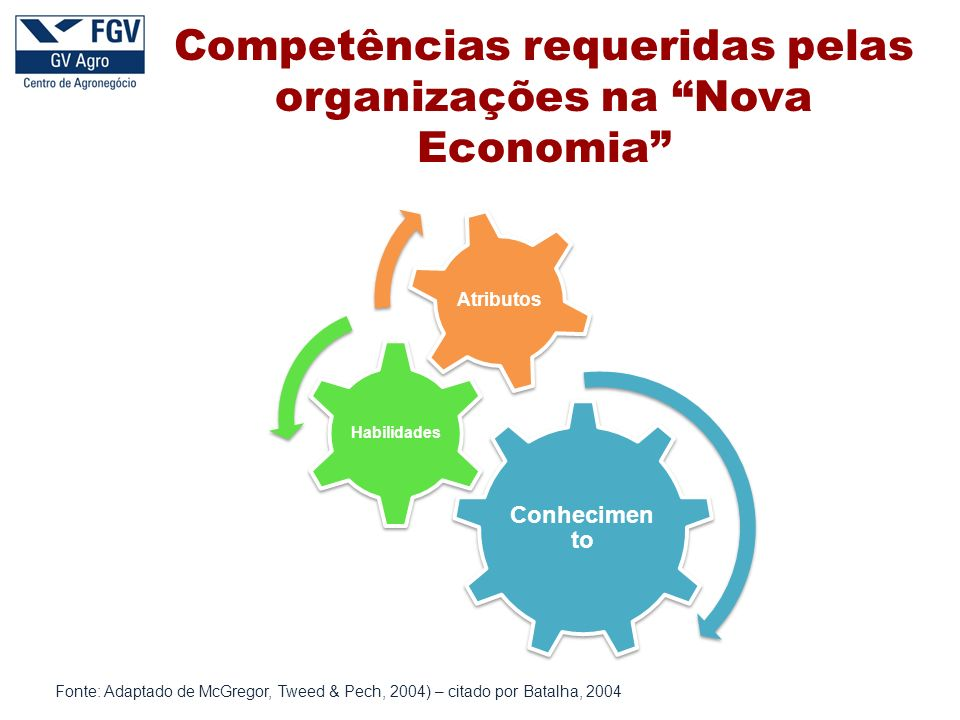 Fonte: Adaptado de McGregor, Tweed & Pech, 2004) – citado por Batalha, 2004 Competências requeridas pelas organizações na Nova Economia