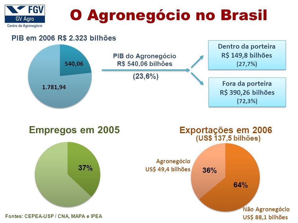 PIB em 2006 R$ 2.323 bilhões Exportações em 2006 (23,6%) PIB do Agronegócio R$ 540,06 bilhões Dentro da porteira R$ 149,8 bilhões (27,7%) Dentro da porteira R$ 149,8 bilhões (27,7%) Fora da porteira R$ 390,26 bilhões (72,3%) Fora da porteira R$ 390,26 bilhões (72,3%) (US$ 137,5 bilhões) Agronegócio US$ 49,4 bilhões Não Agronegócio US$ 88,1 bilhões Fontes: CEPEA-USP / CNA, MAPA e IPEA O Agronegócio no Brasil