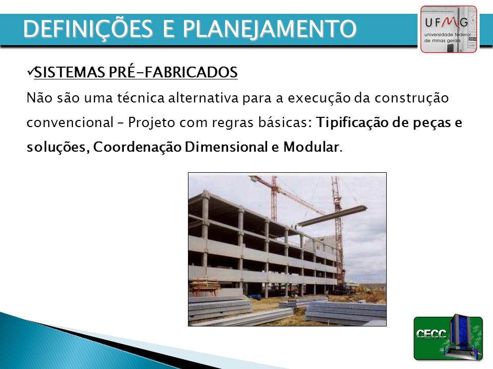 SISTEMAS PRÉ-FABRICADOS Não são uma técnica alternativa para a execução da construção convencional – Projeto com regras básicas: Tipificação de peças