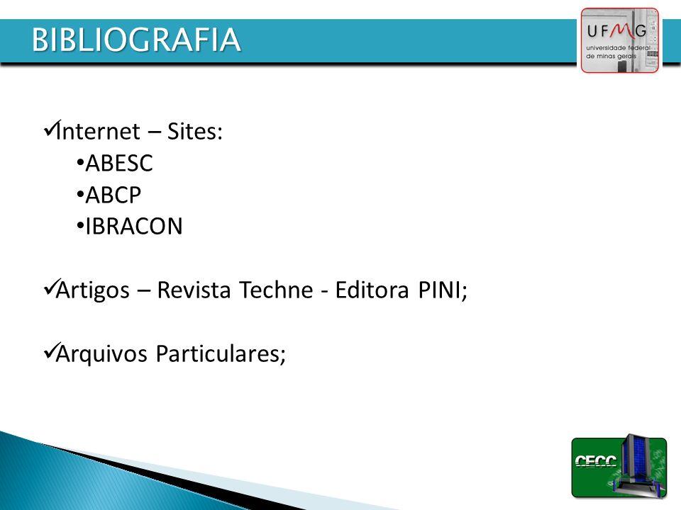 BIBLIOGRAFIA Internet – Sites: ABESC ABCP IBRACON Artigos – Revista Techne - Editora PINI; Arquivos Particulares;