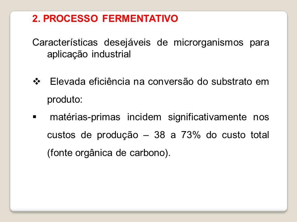 2. PROCESSO FERMENTATIVO Características desejáveis de microrganismos para aplicação industrial Elevada eficiência na conversão do substrato em produt