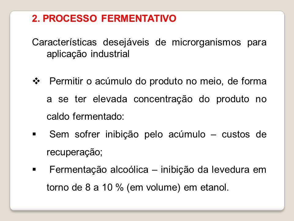 2. PROCESSO FERMENTATIVO Características desejáveis de microrganismos para aplicação industrial Permitir o acúmulo do produto no meio, de forma a se t
