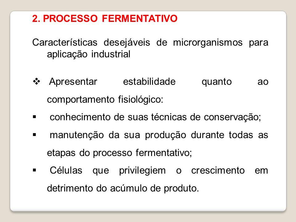 2. PROCESSO FERMENTATIVO Características desejáveis de microrganismos para aplicação industrial Apresentar estabilidade quanto ao comportamento fisiol