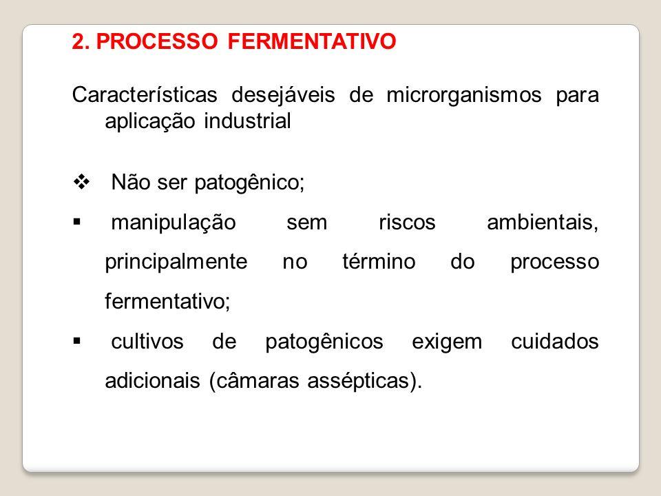 2. PROCESSO FERMENTATIVO Características desejáveis de microrganismos para aplicação industrial Não ser patogênico; manipulação sem riscos ambientais,