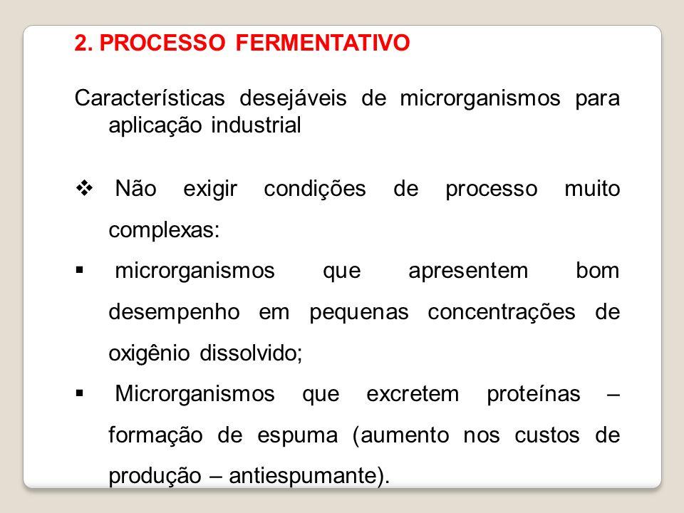 2. PROCESSO FERMENTATIVO Características desejáveis de microrganismos para aplicação industrial Não exigir condições de processo muito complexas: micr