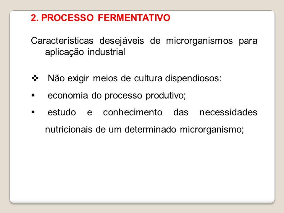 2. PROCESSO FERMENTATIVO Características desejáveis de microrganismos para aplicação industrial Não exigir meios de cultura dispendiosos: economia do