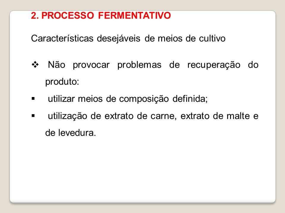 2. PROCESSO FERMENTATIVO Características desejáveis de meios de cultivo Não provocar problemas de recuperação do produto: utilizar meios de composição
