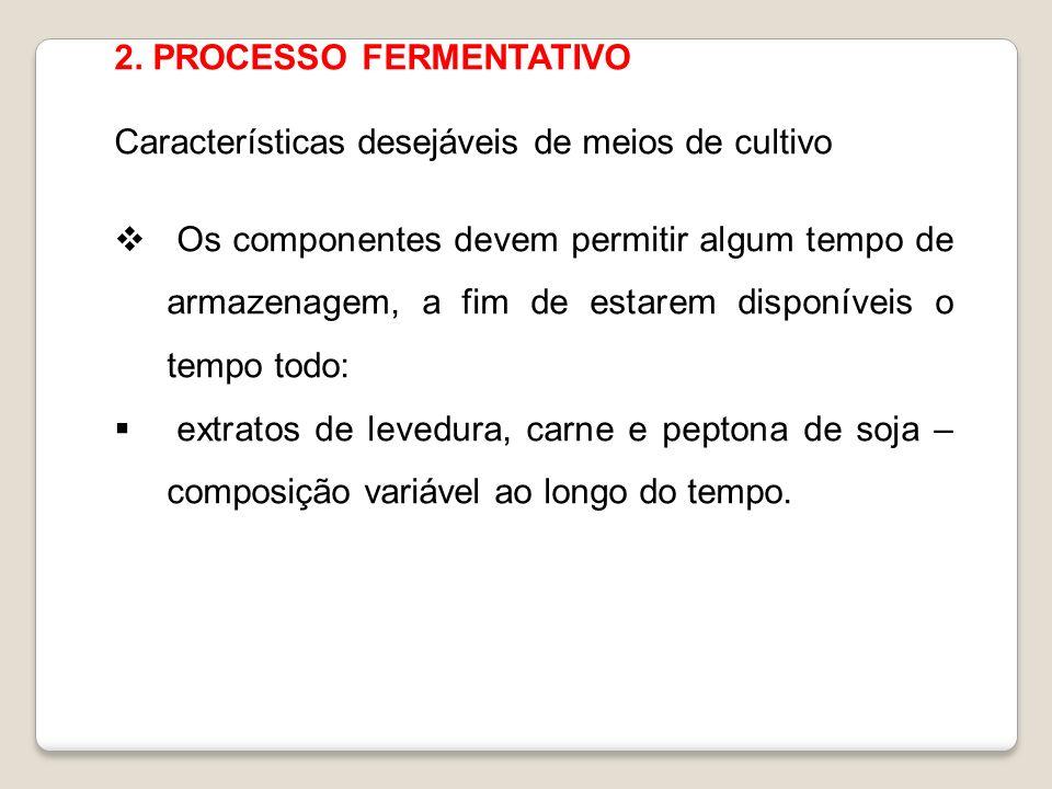 2. PROCESSO FERMENTATIVO Características desejáveis de meios de cultivo Os componentes devem permitir algum tempo de armazenagem, a fim de estarem dis