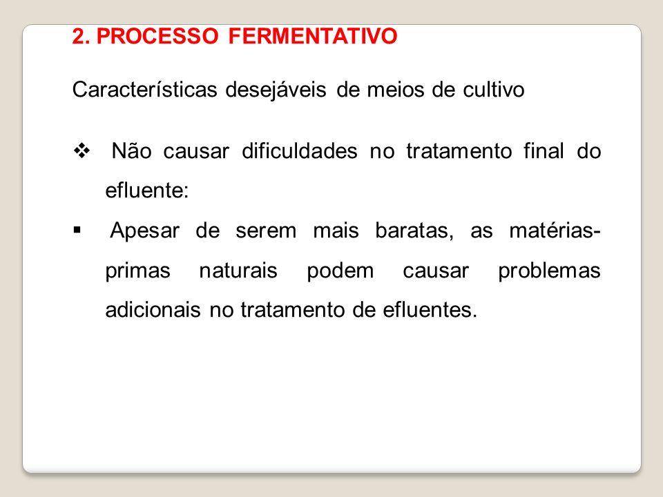2. PROCESSO FERMENTATIVO Características desejáveis de meios de cultivo Não causar dificuldades no tratamento final do efluente: Apesar de serem mais