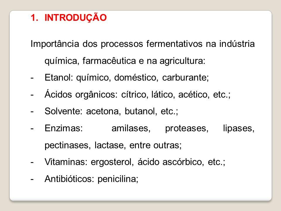 1.INTRODUÇÃO Importância dos processos fermentativos na indústria química, farmacêutica e na agricultura: -Etanol: químico, doméstico, carburante; -Ác