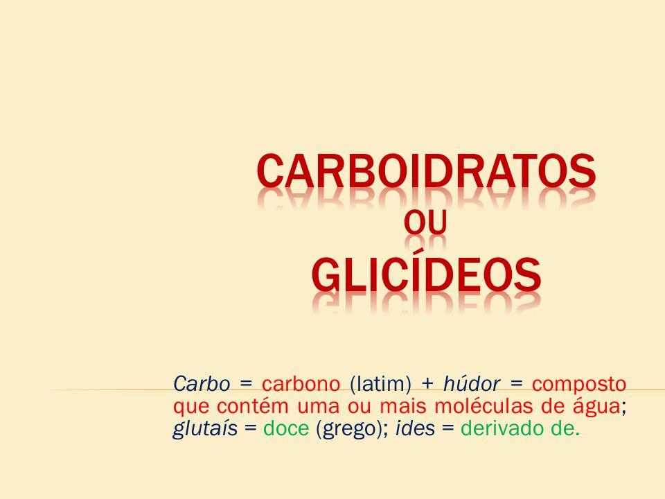 Carbo = carbono (latim) + húdor = composto que contém uma ou mais moléculas de água; glutaís = doce (grego); ides = derivado de.