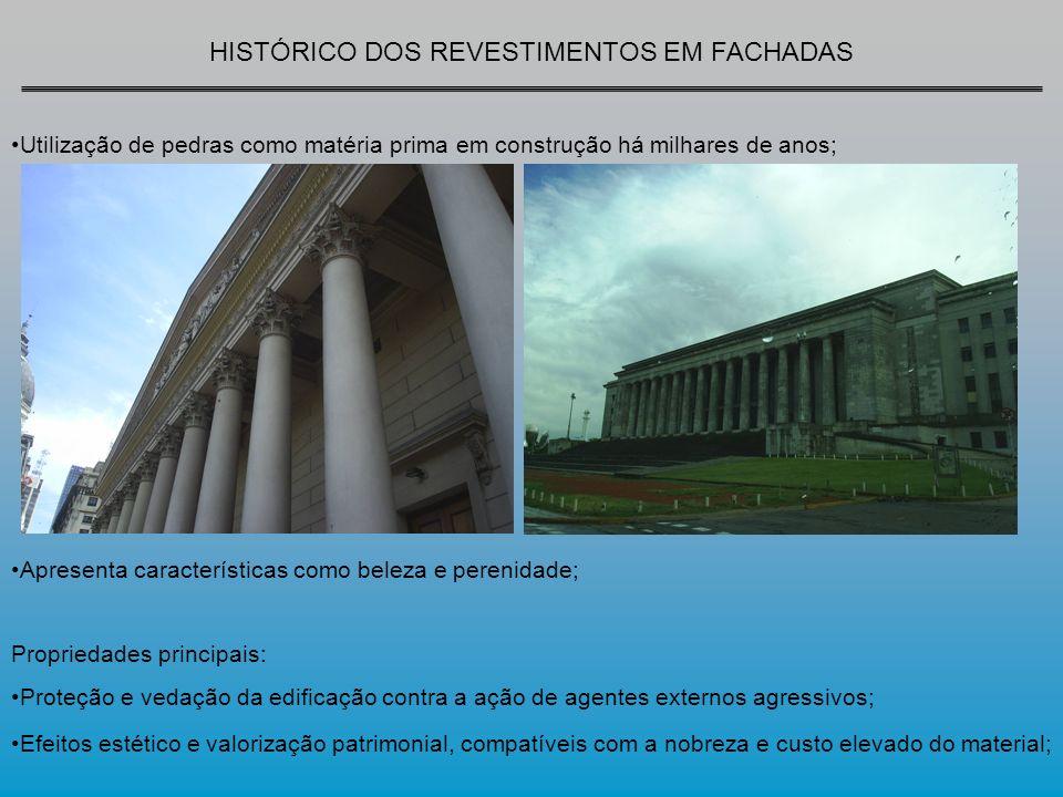 HISTÓRICO DOS REVESTIMENTOS EM FACHADAS Os revestimentos de fachadas em muitas ocasiões não são devidamente planejados.