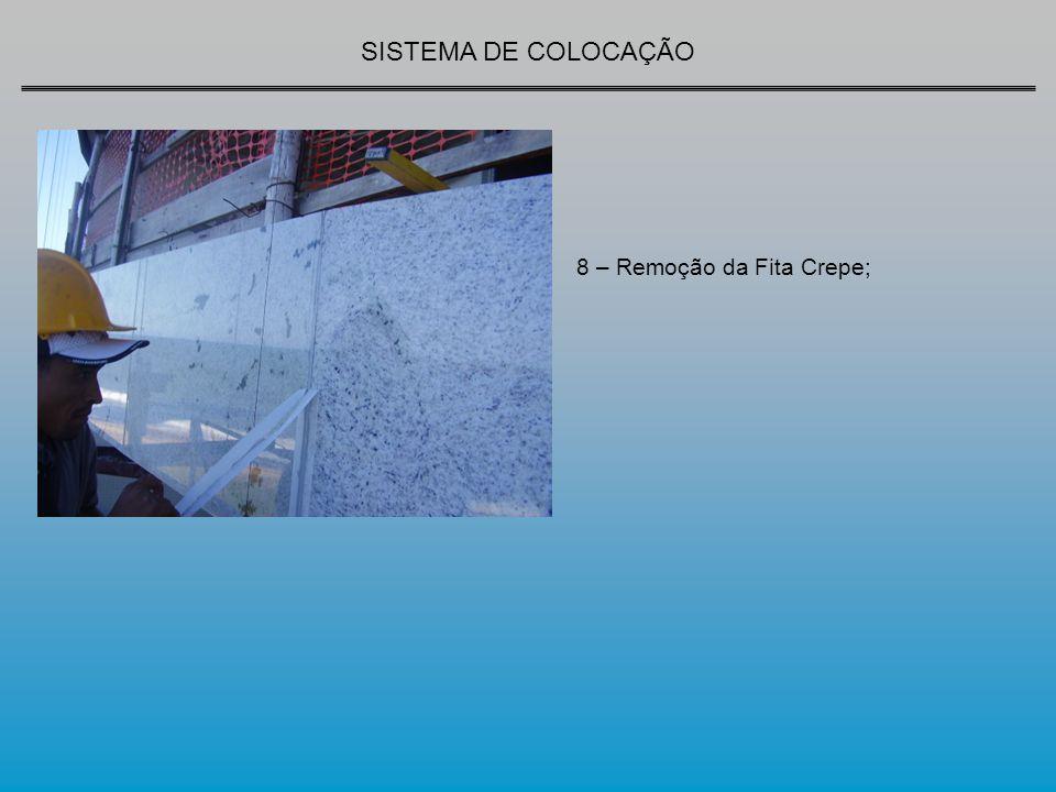 SISTEMA DE COLOCAÇÃO 8 – Remoção da Fita Crepe;