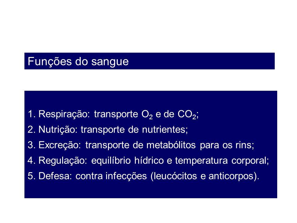 Funções do sangue 1. Respiração: transporte O 2 e de CO 2 ; 2. Nutrição: transporte de nutrientes; 3. Excreção: transporte de metabólitos para os rins