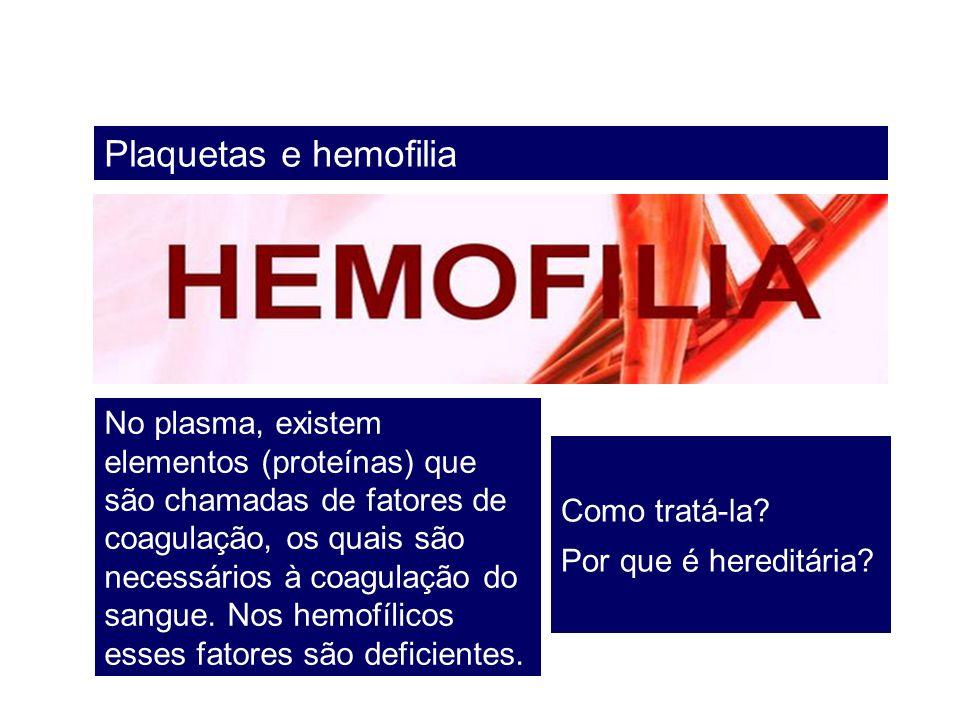 Plaquetas e hemofilia No plasma, existem elementos (proteínas) que são chamadas de fatores de coagulação, os quais são necessários à coagulação do san