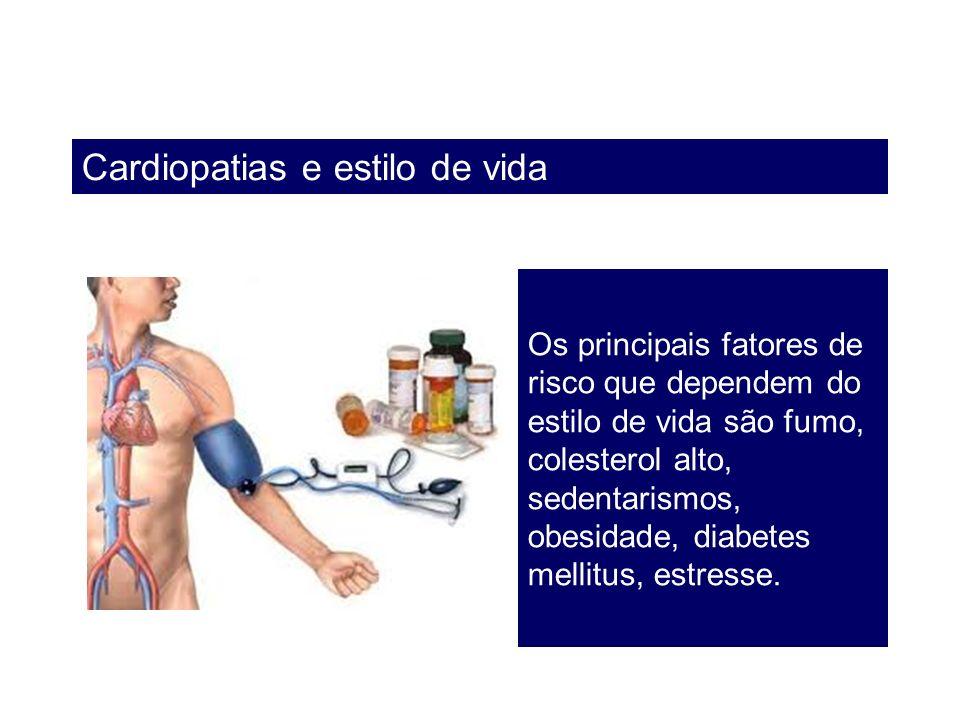 Cardiopatias e estilo de vida Os principais fatores de risco que dependem do estilo de vida são fumo, colesterol alto, sedentarismos, obesidade, diabe