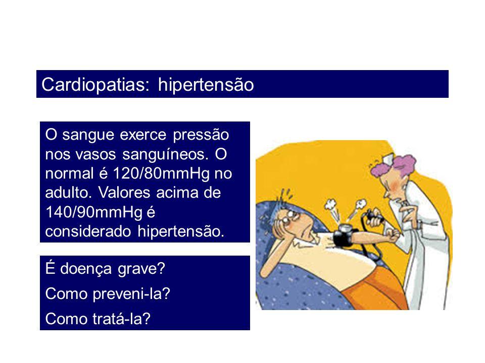 Cardiopatias: hipertensão O sangue exerce pressão nos vasos sanguíneos. O normal é 120/80mmHg no adulto. Valores acima de 140/90mmHg é considerado hip