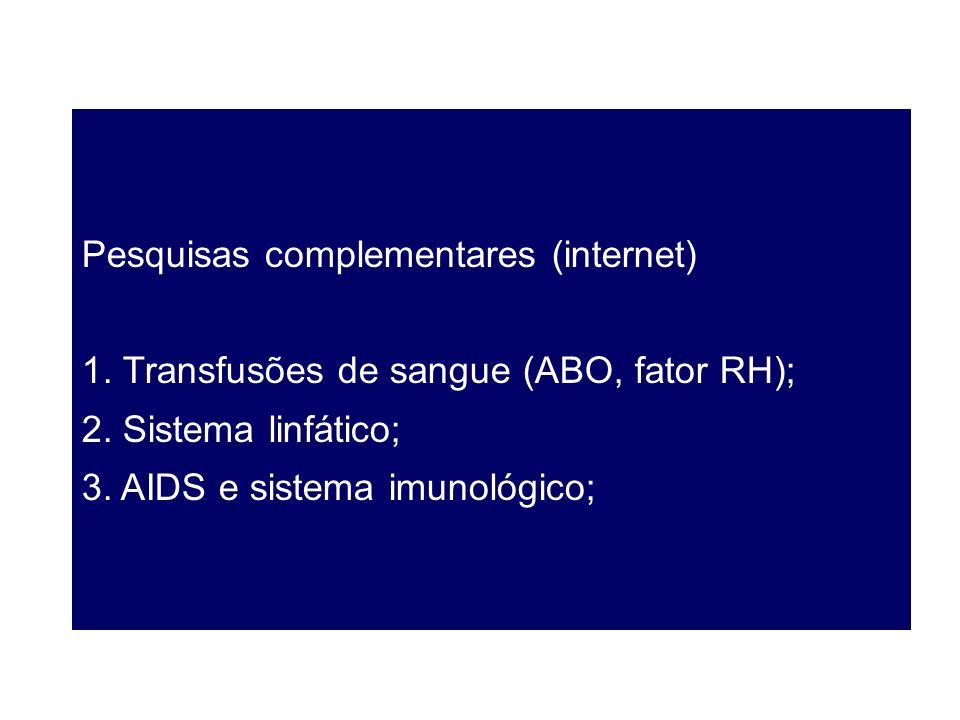 Pesquisas complementares (internet) 1. Transfusões de sangue (ABO, fator RH); 2. Sistema linfático; 3. AIDS e sistema imunológico;